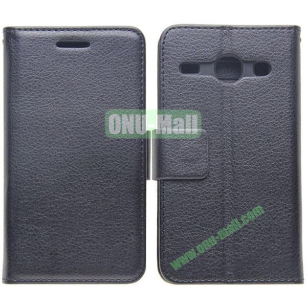 Litchi Texture Leather Case with Card Slots and Holder for Samsung Galaxy Core I8262 (Black)