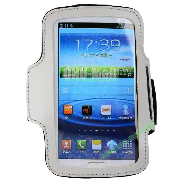 Outdoor Sport Running Gym Soft Armband Belt Pouch Bag Case for Samsung Galaxy Grand  I9082  I9080 (White)