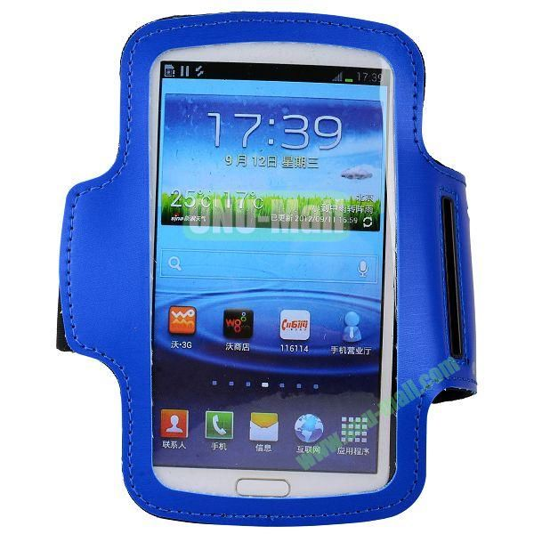 Outdoor Sport Running Gym Soft Armband Belt Pouch Bag Case for Samsung Galaxy Grand  I9082  I9080 (Blue)