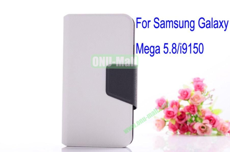 Litchi Lines Leather Case Cover for Samsung Galaxy Mega 5.8i9150 with magnet(White)