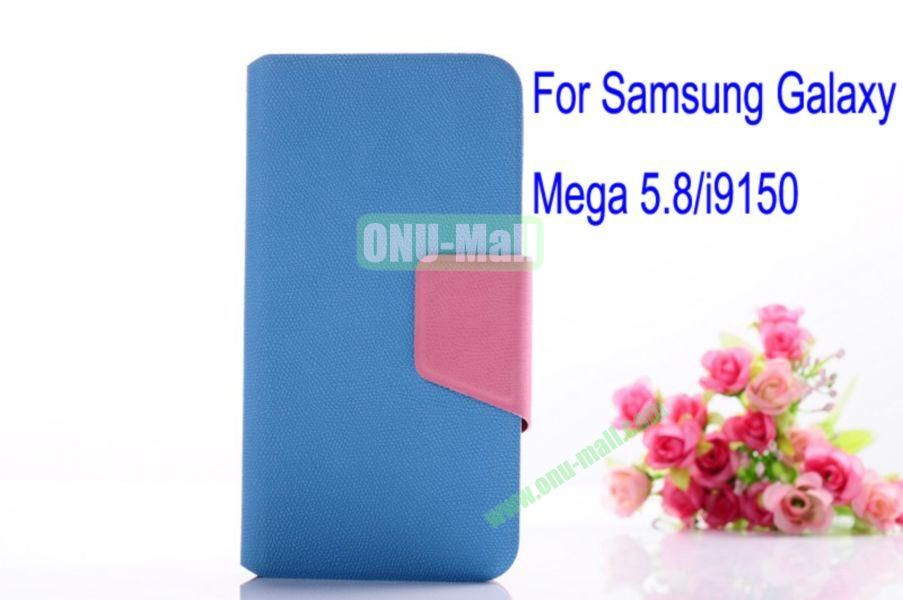 Litchi Lines Leather Case Cover for Samsung Galaxy Mega 5.8i9150 with magnet(Blue)