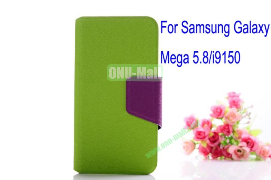 Litchi Lines Leather Case Cover for Samsung Galaxy Mega 5.8i9150 with magnet(Green)