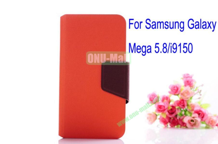 Litchi Lines Leather Case Cover for Samsung Galaxy Mega 5.8i9150 with magnet(Orange)