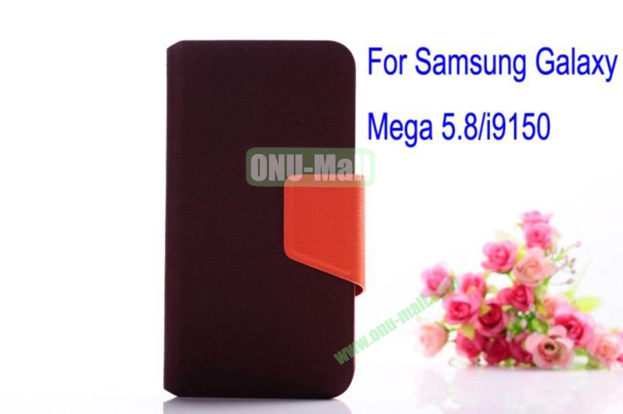 Litchi Lines Leather Case Cover for Samsung Galaxy Mega 5.8i9150 with magnet(Brown)