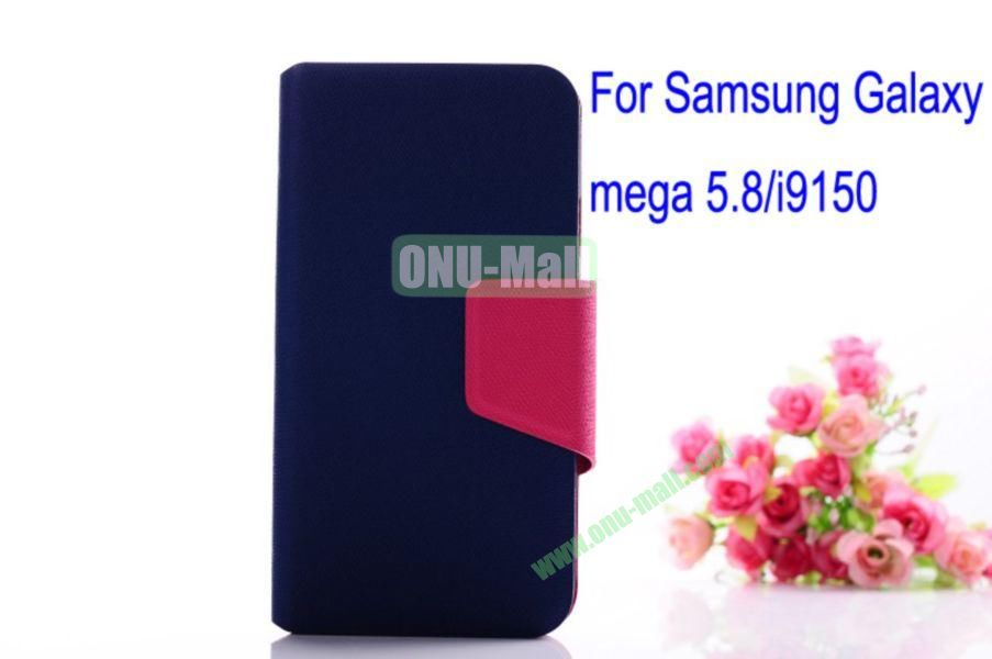 Litchi Lines Leather Case Cover for Samsung Galaxy Mega 5.8i9150 with magnet(Dark Blue)