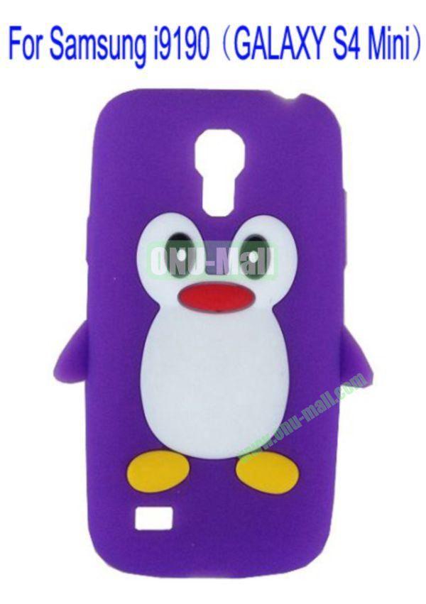 Cute Penguin Silicone Case Cover for Samsung i9190(GALAXY S4 Mini)(Purple)