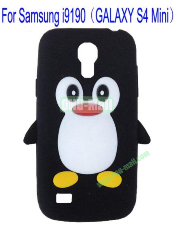Cute Penguin Silicone Case Cover for Samsung i9190(GALAXY S4 Mini)(Black)