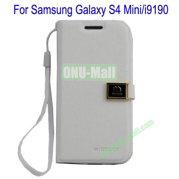 Toothpick Line Design Magnetic Flip Stand Leather Case Cover for Samsung Galaxy S4 Minii9190 with Card Slots(White)