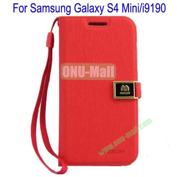 Toothpick Line Design Magnetic Flip Stand Leather Case Cover for Samsung Galaxy S4 Minii9190 with Card Slots(Red)