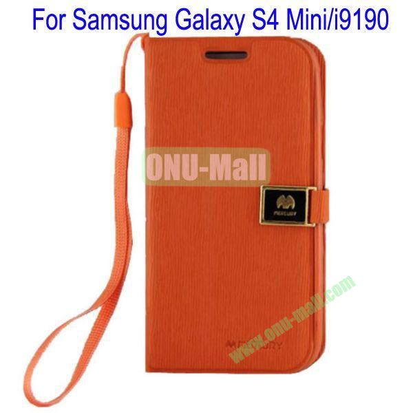 Toothpick Line Design Magnetic Flip Stand Leather Case Cover for Samsung Galaxy S4 Minii9190 with Card Slots(Orange)