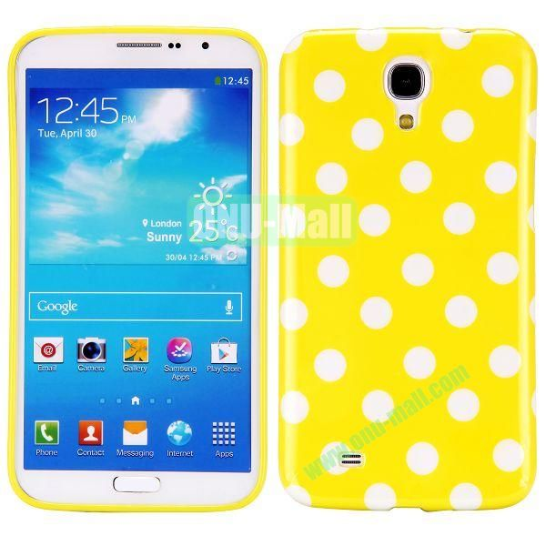 Polka Dots Pattern TPU Case For Samsung Galaxy Mega 6.3  I9200 (Yellow+White)