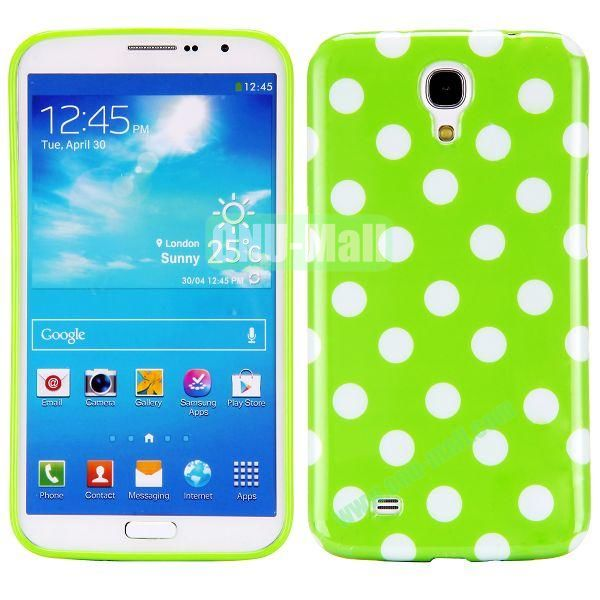 Polka Dots Pattern TPU Case For Samsung Galaxy Mega 6.3  I9200 (Green+White)