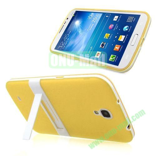 Translucent Frame PC+TPU Case with Folding Holder for Samsung Galaxy Mega 6.3  I9200 (Yellow)