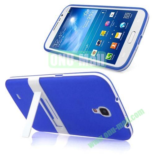 Translucent Frame PC+TPU Case with Folding Holder for Samsung Galaxy Mega 6.3  I9200 (Blue)