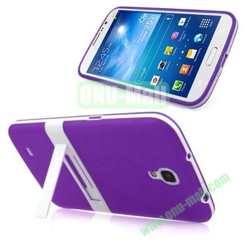 Translucent Frame PC+TPU Case with Folding Holder for Samsung Galaxy Mega 6.3  I9200 (Purple)
