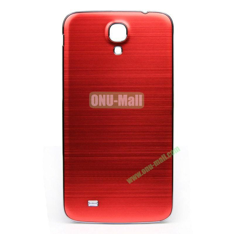 Newest Brushed Aluminum  Battery Back Cover Housing with  Electroplating Frame for  Samsung I9200 (Galaxy Mega 6.3)(Red)