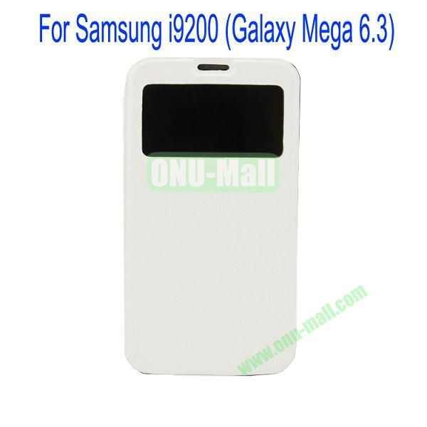 Ultrathin Magnetic Folio Stand Dormancy Case for for Samsung I9200 (Galaxy Mega 6.3)with Touch Display(White)