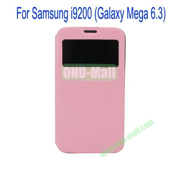 Ultrathin Magnetic Folio Stand Dormancy Case for for Samsung I9200 (Galaxy Mega 6.3)with Touch Display(Pink)