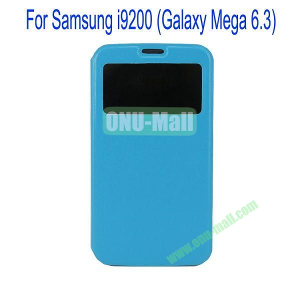 Ultrathin Magnetic Folio Stand Dormancy Case for for Samsung I9200 (Galaxy Mega 6.3)with Touch Display(Blue)