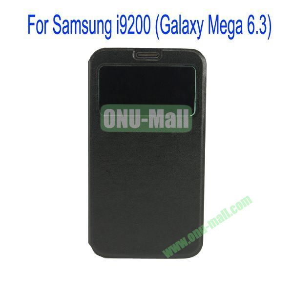 Ultrathin Magnetic Folio Stand Dormancy Case for for Samsung I9200 (Galaxy Mega 6.3)with Touch Display(Black)