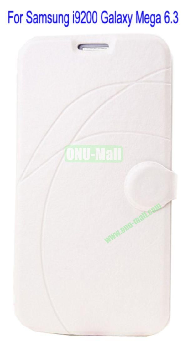 Newest Flip Stand Leather Case Cover for Samsung i9200 Galaxy Mega 6.3 with Soft TPU Inner Case and Card Solt(White)