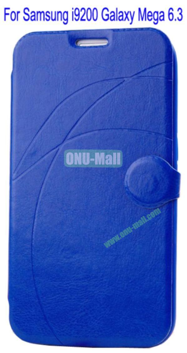 Newest Flip Stand Leather Case Cover for Samsung i9200 Galaxy Mega 6.3 with Soft TPU Inner Case and Card Solt(Dark Blue)