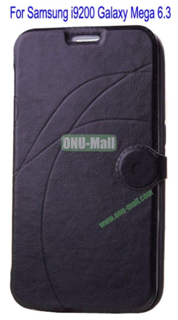 Newest Flip Stand Leather Case Cover for Samsung i9200 Galaxy Mega 6.3 with Soft TPU Inner Case and Card Solt(Black)