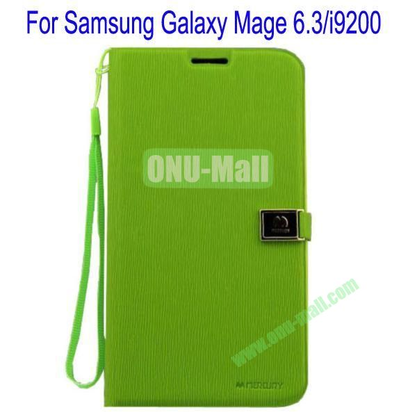 Toothpick Line Design Magnetic Flip Stand Leather Case Cover for Samsung Galaxy Mega 6.3i9200 with Card Slots(Green)