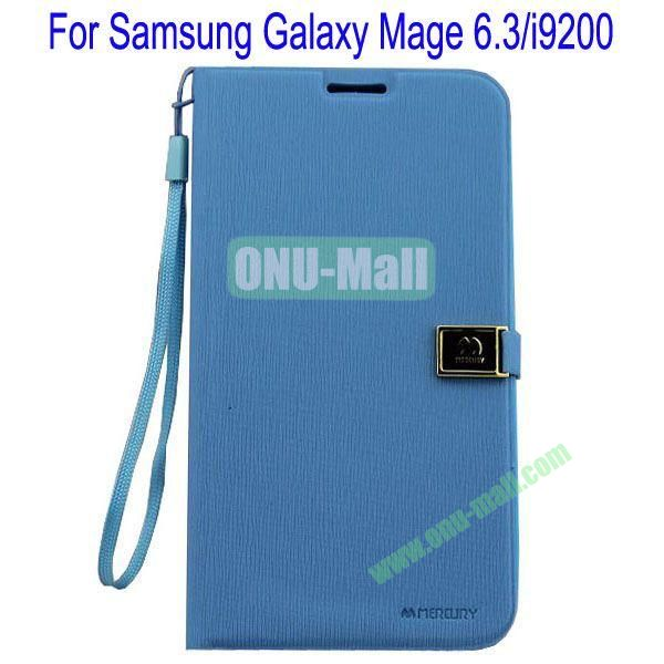 Toothpick Line Design Magnetic Flip Stand Leather Case Cover for Samsung Galaxy Mega 6.3i9200 with Card Slots(Blue)