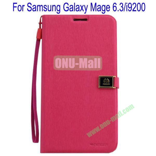 Toothpick Line Design Magnetic Flip Stand Leather Case Cover for Samsung Galaxy Mega 6.3i9200 with Card Slots(Rose)