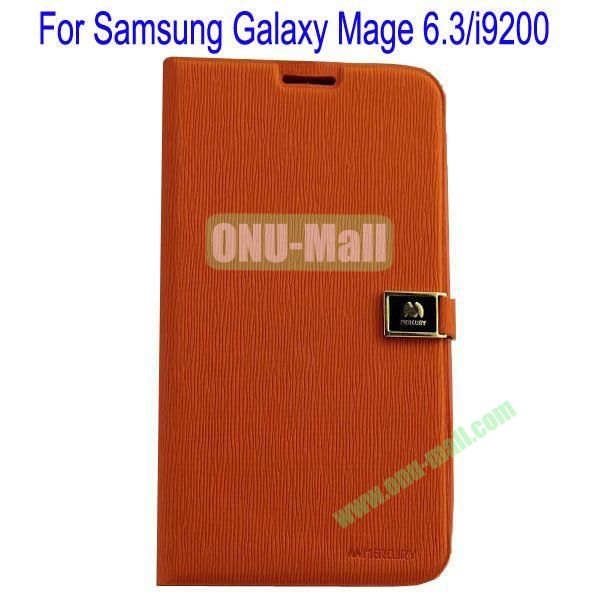 Toothpick Line Design Magnetic Flip Stand Leather Case Cover for Samsung Galaxy Mega 6.3i9200 with Card Slots(Orange)