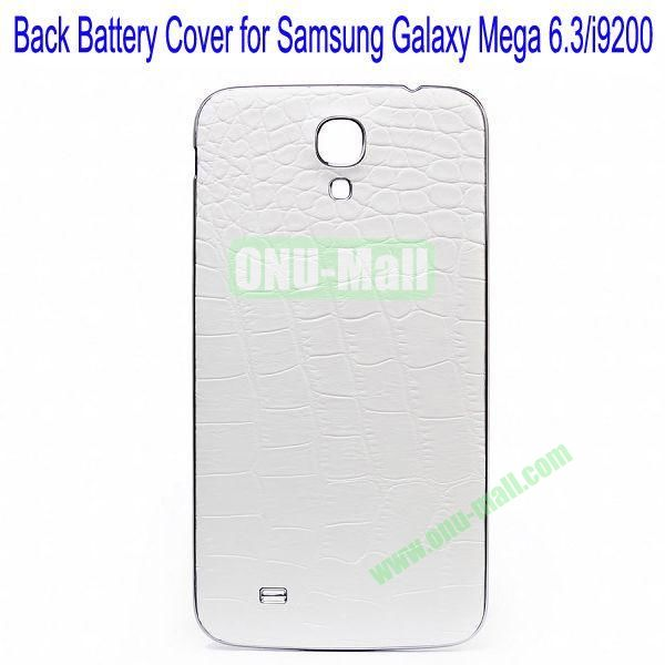 Crocodile Skin Texture Back Battery Cover for Samsung Galaxy Mega 6.3i9200(White)