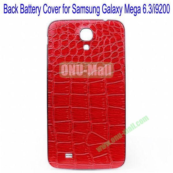 Crocodile Skin Texture Back Battery Cover for Samsung Galaxy Mega 6.3i9200(Red)