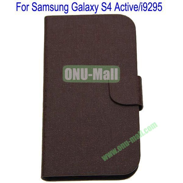 Vertical Stripes Leather Case Cover for Samsung Galaxy S4 ActiveI9295(Brown)