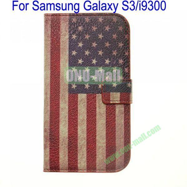 Retro USA Flag Leather Case for Samsung Galaxy S3i9300