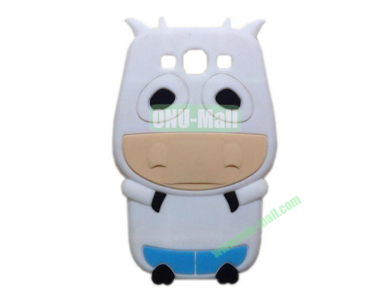 Cute Cow Cartoon Silicone Case for Samsung Galaxy S3i9300(White)