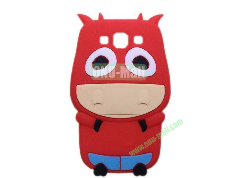 Cute Cow Cartoon Silicone Case for Samsung Galaxy S3i9300(Red)