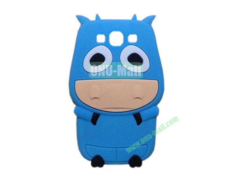 Cute Cow Cartoon Silicone Case for Samsung Galaxy S3i9300(Blue)