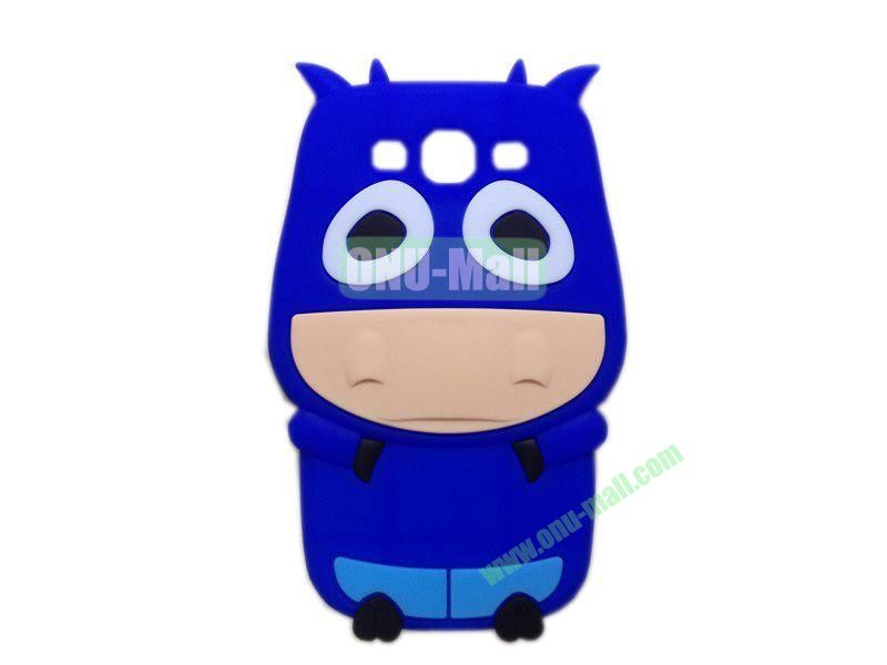 Cute Cow Cartoon Silicone Case for Samsung Galaxy S3i9300(Dark Blue)