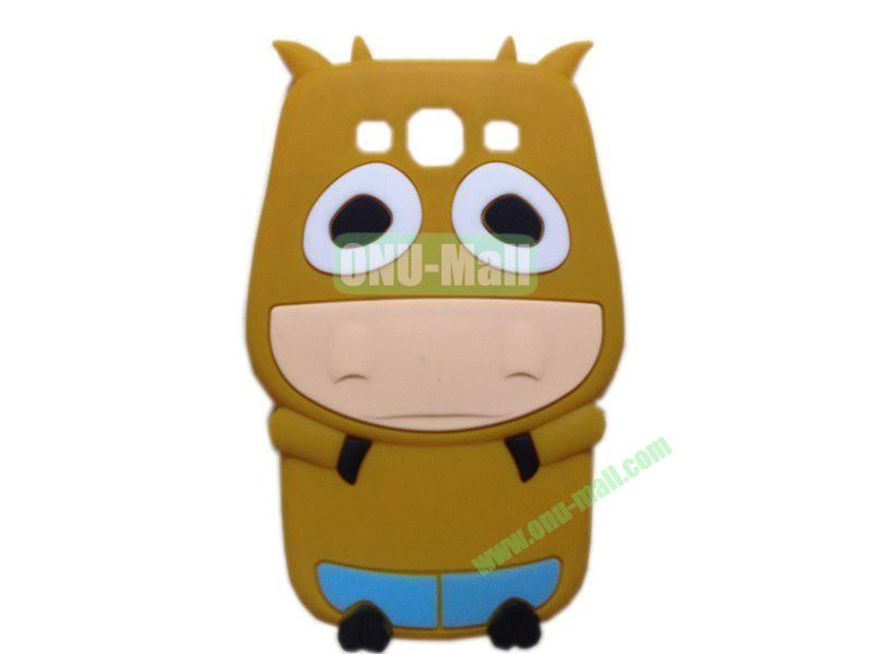 Cute Cow Cartoon Silicone Case for Samsung Galaxy S3i9300(Brown)