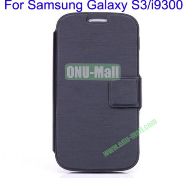 Ultrathin Magnetic Folio Stand Dormancy Case Cover for Samsung Galaxy S3i9300(Black)