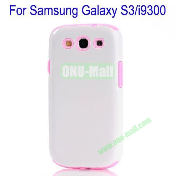 Fashion Silicon+TPU Glossy Case Cover for Samsung Galaxy S3i9300(White+Pink)