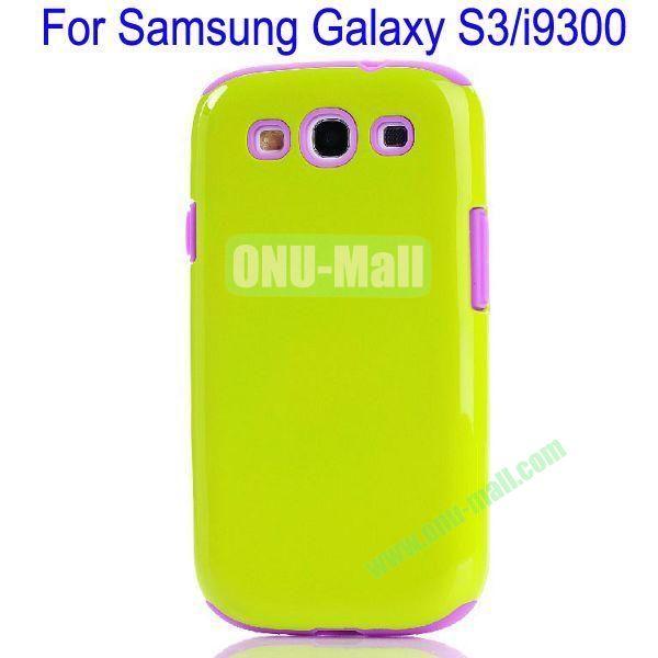 Fashion Silicon+TPU Glossy Case Cover for Samsung Galaxy S3i9300(Green+Purple)