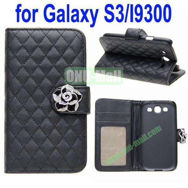 Rhombus Texture Wallet Leather Case for Samsung Galaxy S3i9300 with a Diamond Flower and Card Slots & Holder (Black)
