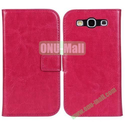 Crazy Horse Texture Leather Case with Card Slots and Holder for Samsung Galaxy S3I9300 (Rose)