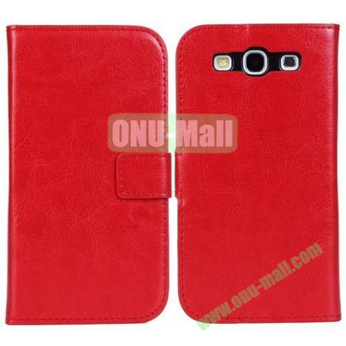 Crazy Horse Texture Leather Case with Card Slots and Holder for Samsung Galaxy S3I9300 (Red)