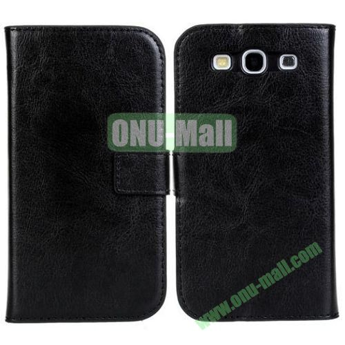 Crazy Horse Texture Leather Case with Card Slots and Holder for Samsung Galaxy S3I9300 (Black)