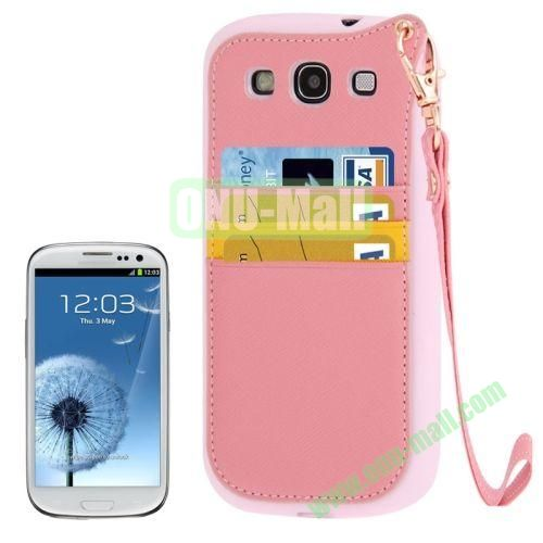 Cross Texture Leather + TPU Case for Samsung Galaxy S IIII9300 with Card Slots & Lanyard (Pink)