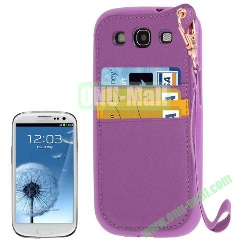 Cross Texture Leather + TPU Case for Samsung Galaxy S IIII9300 with Card Slots & Lanyard (Purple)