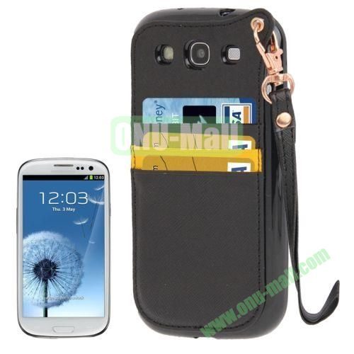 Cross Texture Leather + TPU Case for Samsung Galaxy S IIII9300 with Card Slots & Lanyard (Black)